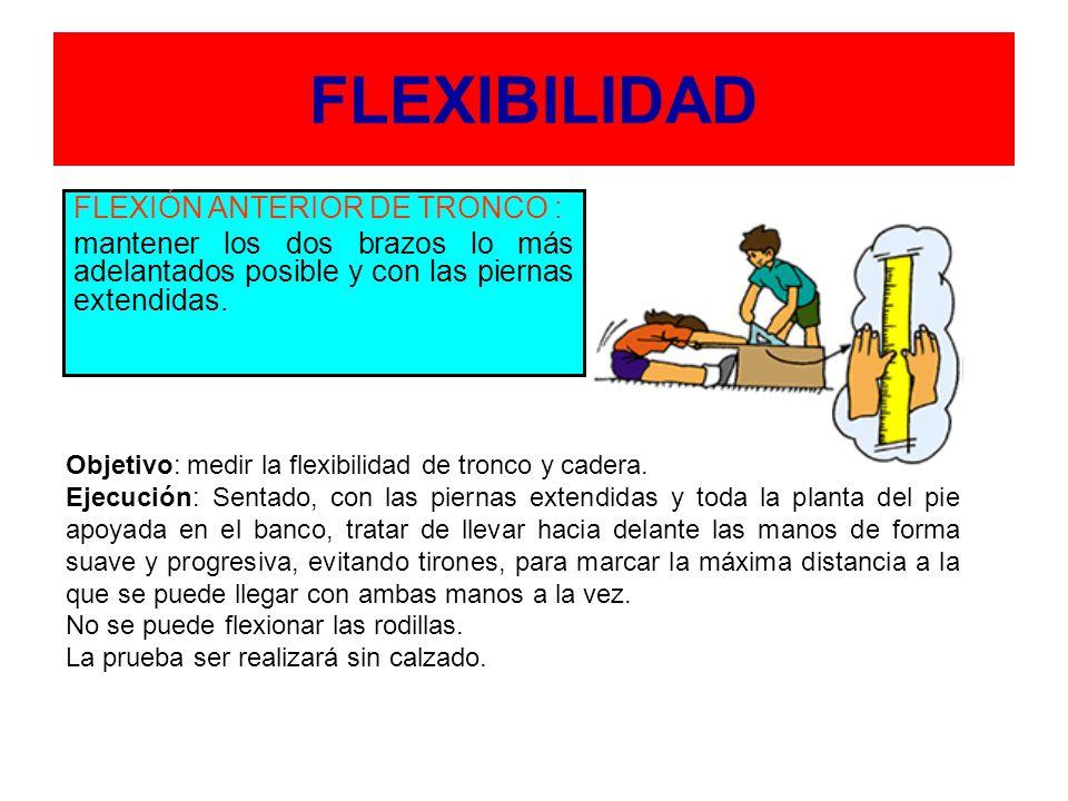 FLEXIBILIDAD FLEXIÓN ANTERIOR DE TRONCO : mantener los dos brazos lo más adelantados posible y con las piernas extendidas.