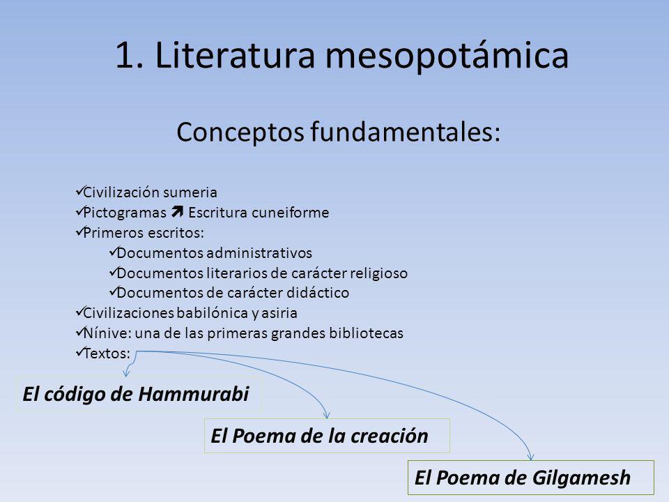 1. Literatura mesopotámica Conceptos fundamentales: Civilización sumeria Pictogramas Escritura cuneiforme Primeros escritos: Documentos administrativo