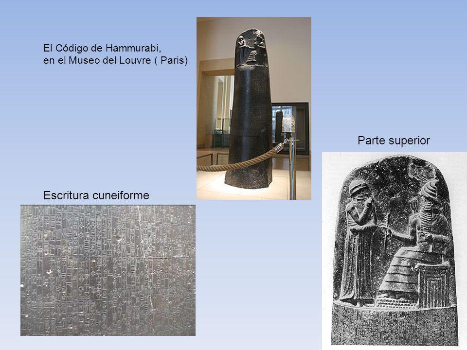El Código de Hammurabi, en el Museo del Louvre ( Paris) Parte superior Escritura cuneiforme