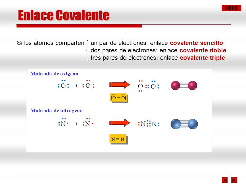 ÍNDICE Enlace Covalente Si los átomos comparten un par de electrones: enlace covalente sencillo dos pares de electrones: enlace covalente doble tres p