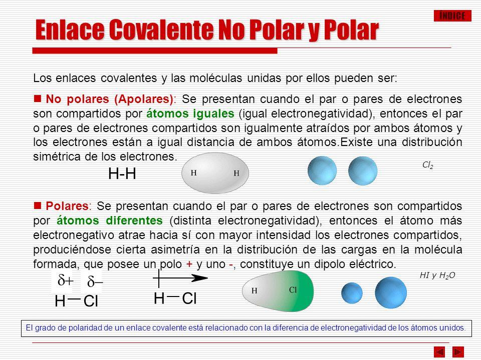 ÍNDICE Los enlaces covalentes y las moléculas unidas por ellos pueden ser: No polares (Apolares): Se presentan cuando el par o pares de electrones son