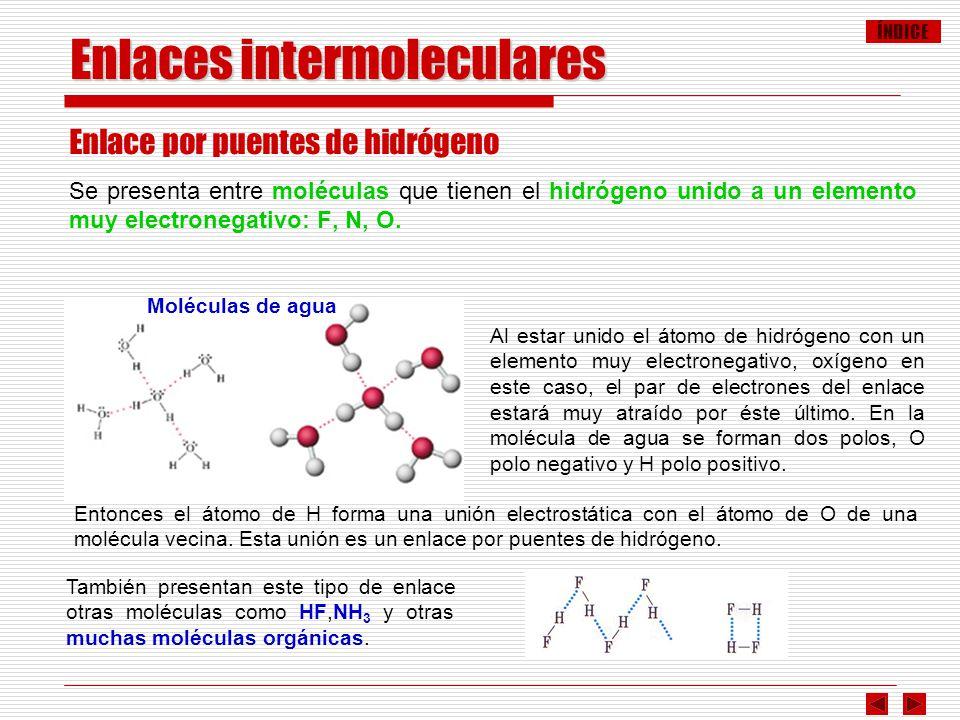 ÍNDICE Enlaces intermoleculares Enlace por puentes de hidrógeno Se presenta entre moléculas que tienen el hidrógeno unido a un elemento muy electroneg