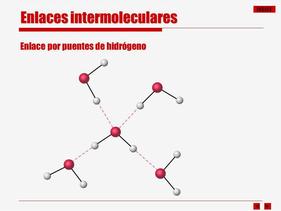 ÍNDICE Enlaces intermoleculares Enlace por puentes de hidrógeno