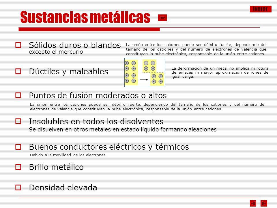 ÍNDICE Sustancias metálicas Sólidos duros o blandos excepto el mercurio Dúctiles y maleables Puntos de fusión moderados o altos Insolubles en todos lo