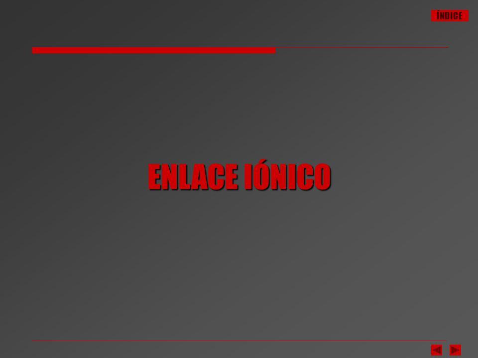 ÍNDICE NaCl Enlace Iónico El enlace iónico se establece por cesión de electrones (uno o más) de un átomo metálico a un átomo no metálico.