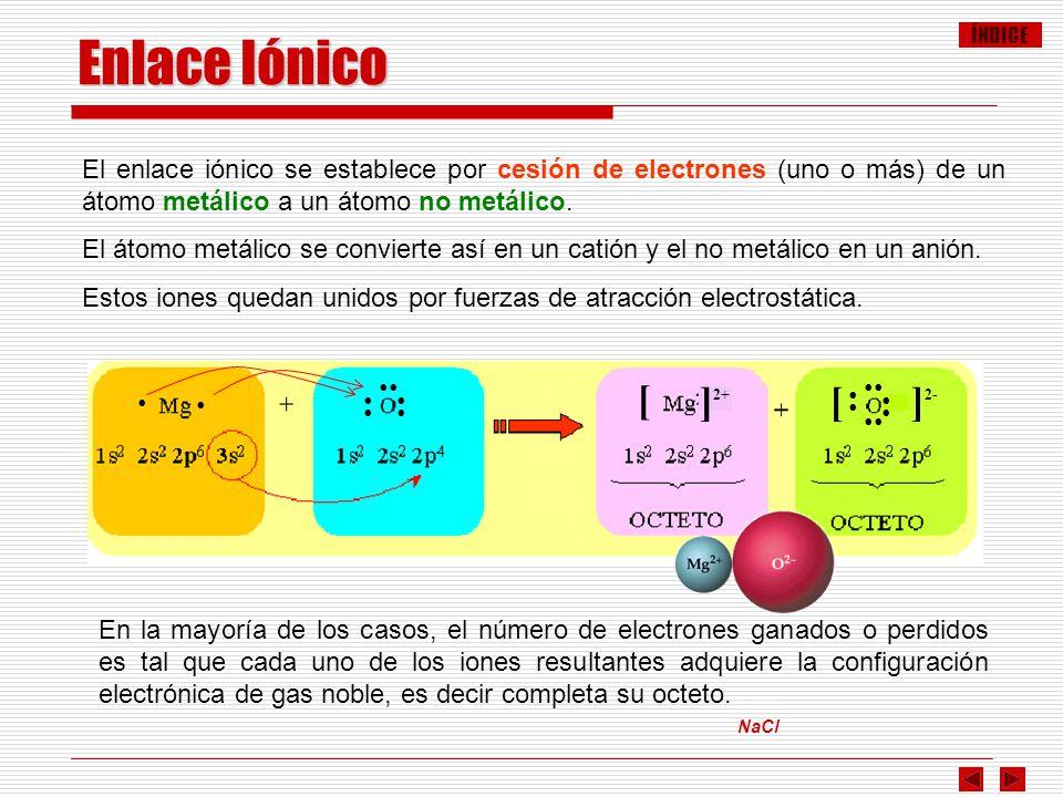 ÍNDICE NaCl Enlace Iónico El enlace iónico se establece por cesión de electrones (uno o más) de un átomo metálico a un átomo no metálico. El átomo met
