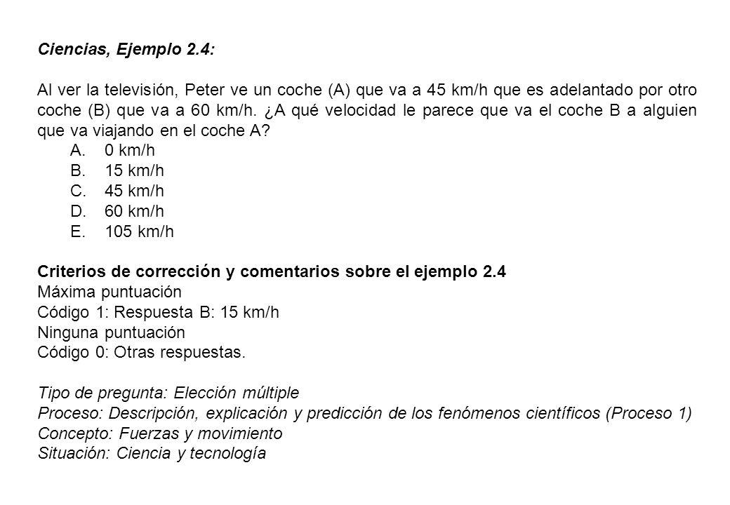 Ciencias, Ejemplo 2.4: Al ver la televisión, Peter ve un coche (A) que va a 45 km/h que es adelantado por otro coche (B) que va a 60 km/h.