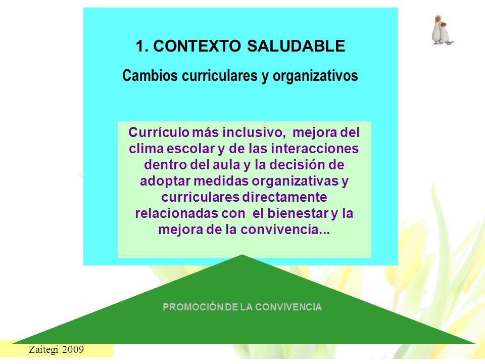 Zaitegi 2009 1. CONTEXTO SALUDABLE Cambios curriculares y organizativos Currículo más inclusivo, mejora del clima escolar y de las interacciones dentr