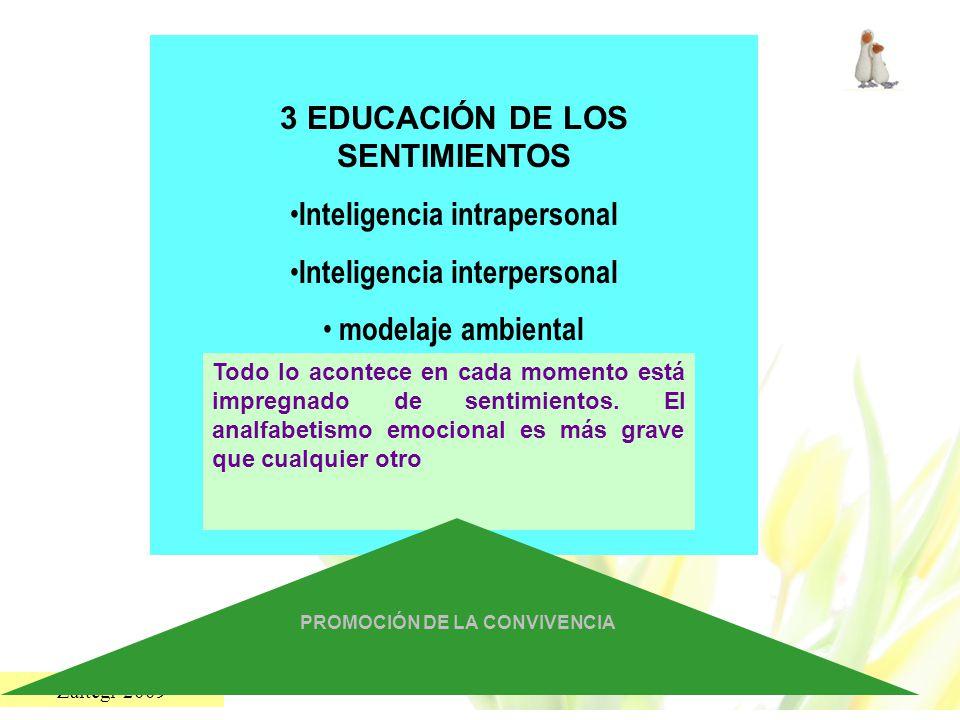 Zaitegi 2009 3 EDUCACIÓN DE LOS SENTIMIENTOS Inteligencia intrapersonal Inteligencia interpersonal modelaje ambiental Todo lo acontece en cada momento