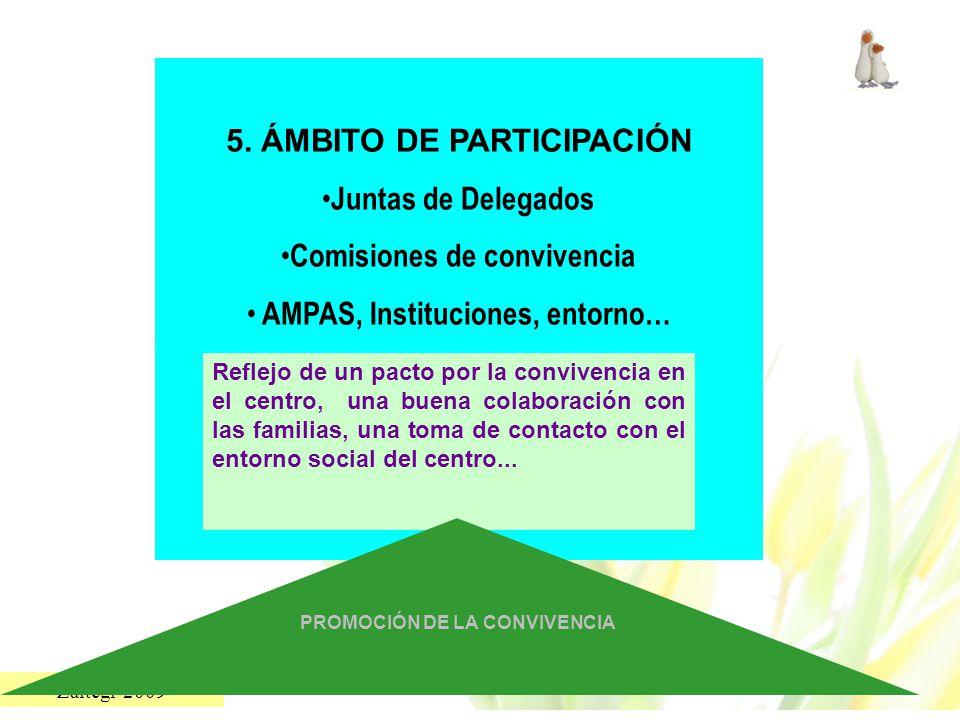 Zaitegi 2009 5. ÁMBITO DE PARTICIPACIÓN Juntas de Delegados Comisiones de convivencia AMPAS, Instituciones, entorno… Reflejo de un pacto por la conviv