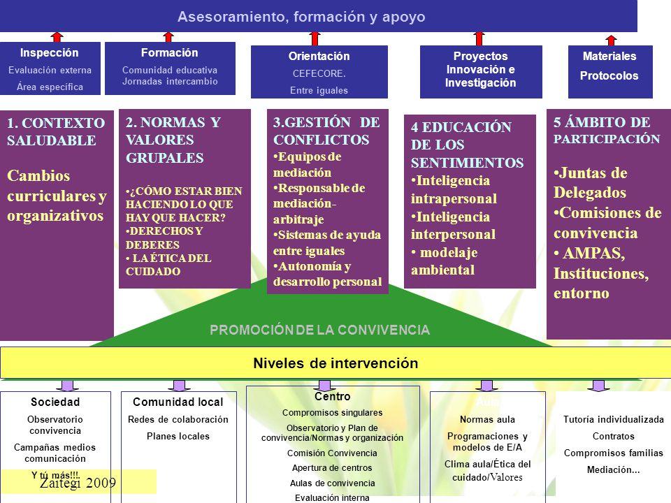 Zaitegi 2009 Inspección Evaluación externa Área específica Formación Comunidad educativa Jornadas intercambio Orientación CEFECORE. Entre iguales Proy