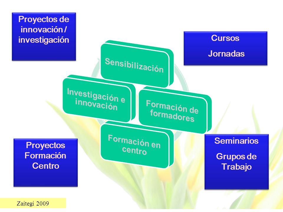 Zaitegi 2009 Seminarios Grupos de Trabajo Seminarios Grupos de Trabajo Cursos Jornadas Cursos Jornadas Proyectos Formación Centro Proyectos de innovac