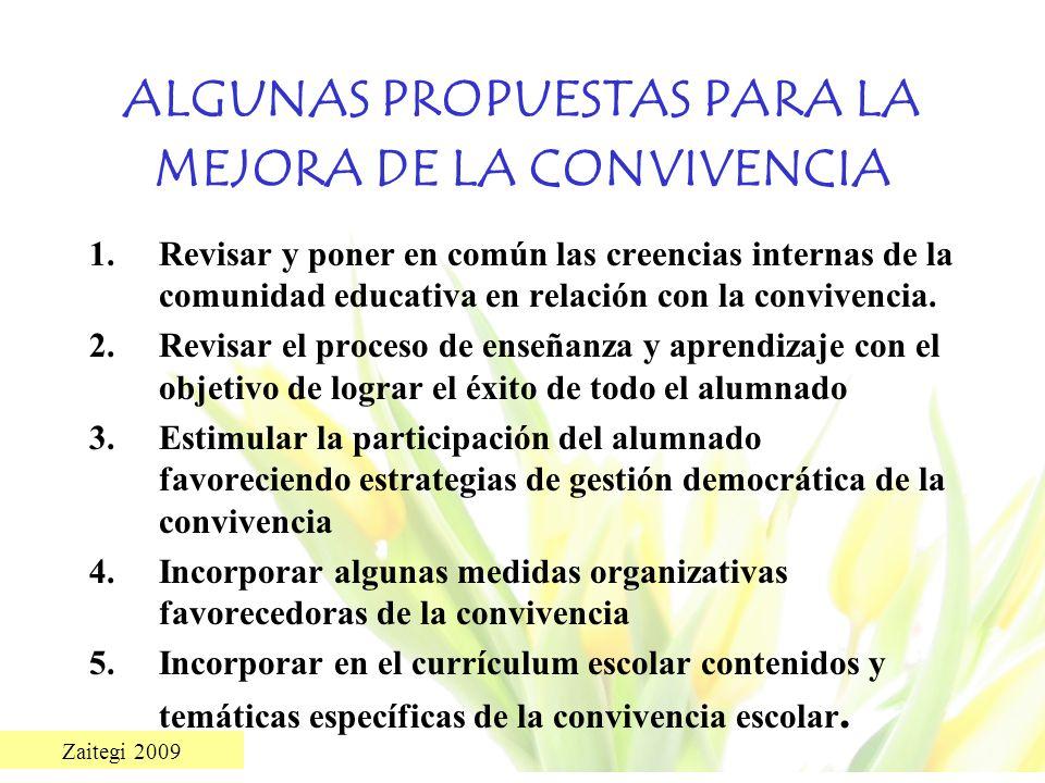 Zaitegi 2009 ALGUNAS PROPUESTAS PARA LA MEJORA DE LA CONVIVENCIA 1.Revisar y poner en común las creencias internas de la comunidad educativa en relaci