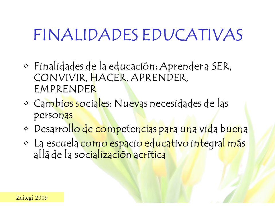 Zaitegi 2009 FINALIDADES EDUCATIVAS Finalidades de la educación: Aprender a SER, CONVIVIR, HACER, APRENDER, EMPRENDER Cambios sociales: Nuevas necesid