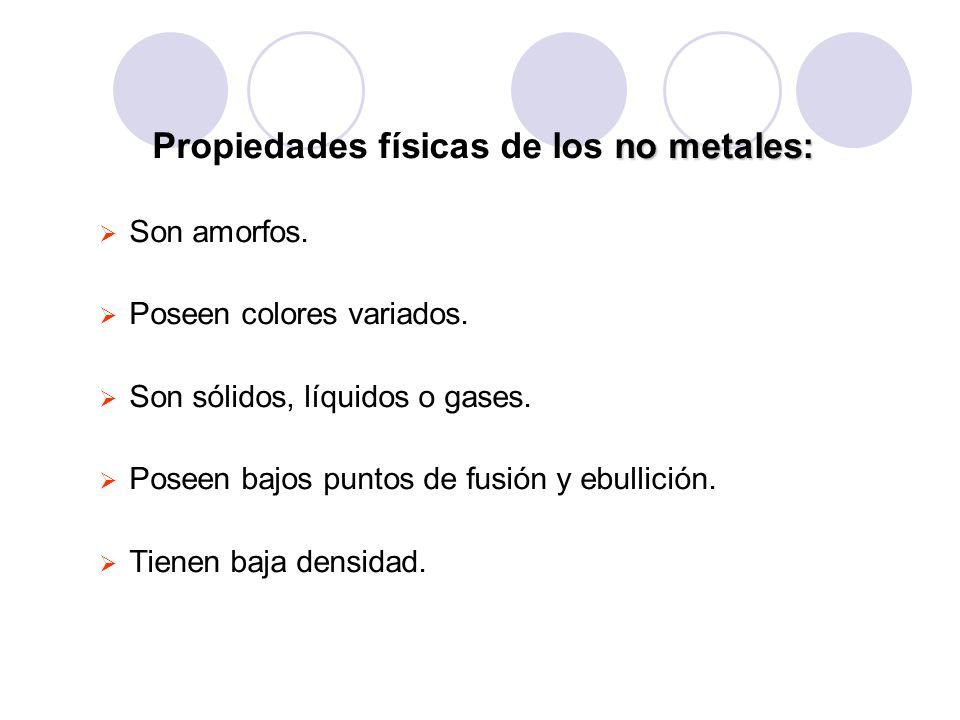 no metales: Propiedades físicas de los no metales: Son amorfos. Poseen colores variados. Son sólidos, líquidos o gases. Poseen bajos puntos de fusión