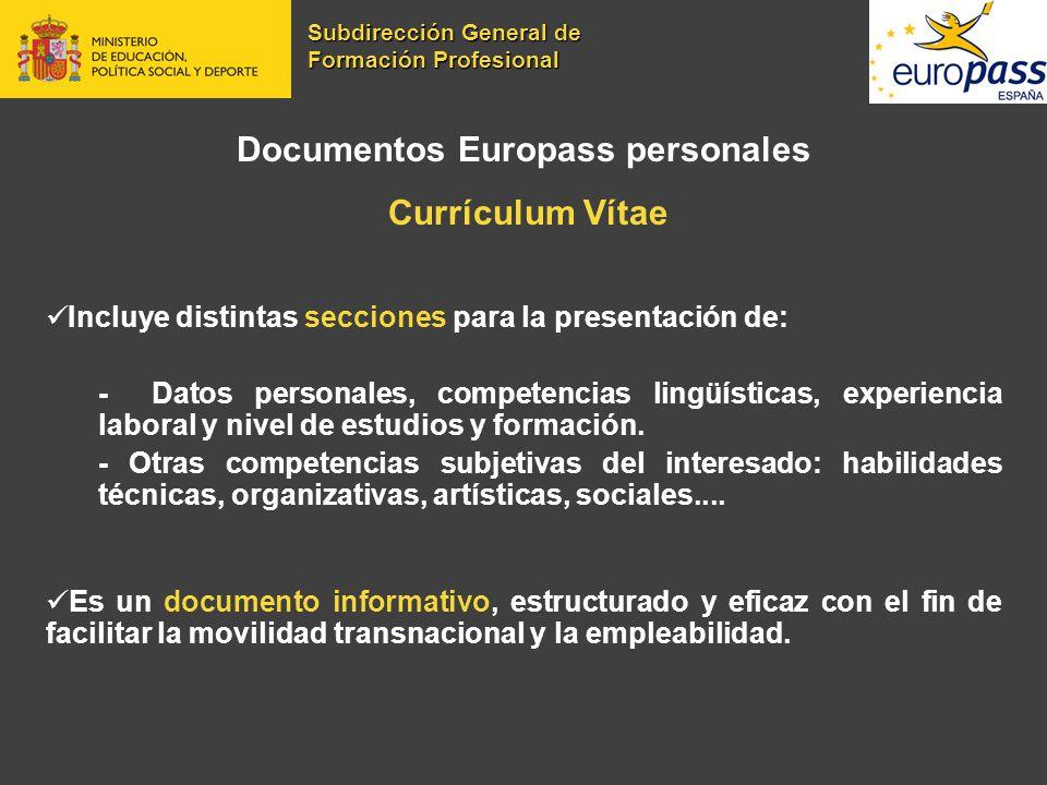 Documentos Europass personales Currículum Vítae Incluye distintas secciones para la presentación de: - Datos personales, competencias lingüísticas, ex
