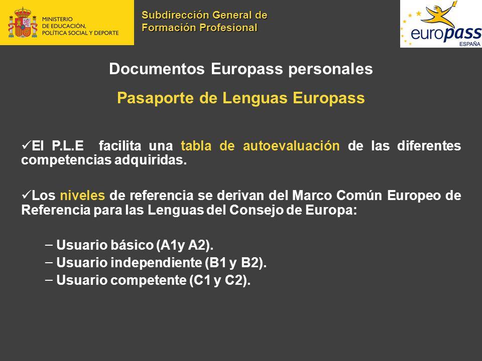 Documentos Europass personales Pasaporte de Lenguas Europass El P.L.E facilita una tabla de autoevaluación de las diferentes competencias adquiridas.