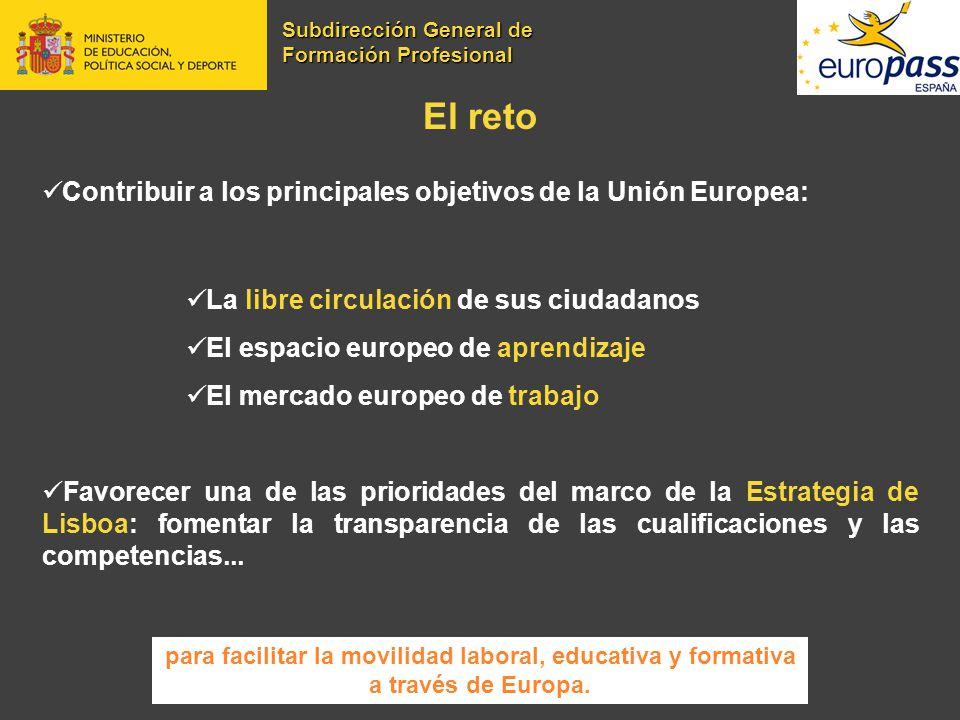El reto Contribuir a los principales objetivos de la Unión Europea: La libre circulación de sus ciudadanos El espacio europeo de aprendizaje El mercad