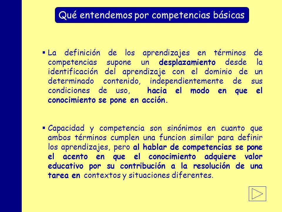 MINISTERIO DE EDUCACIÓN, POLÍTICA SOCIAL Y DEPORTE Qué entendemos por competencias básicas La definición de los aprendizajes en términos de competencias supone un desplazamiento desde la identificación del aprendizaje con el dominio de un determinado contenido, independientemente de sus condiciones de uso, hacia el modo en que el conocimiento se pone en acción.