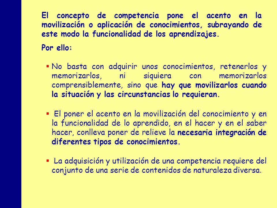 MINISTERIO DE EDUCACIÓN, POLÍTICA SOCIAL Y DEPORTE El concepto de competencia pone el acento en la movilización o aplicación de conocimientos, subraya