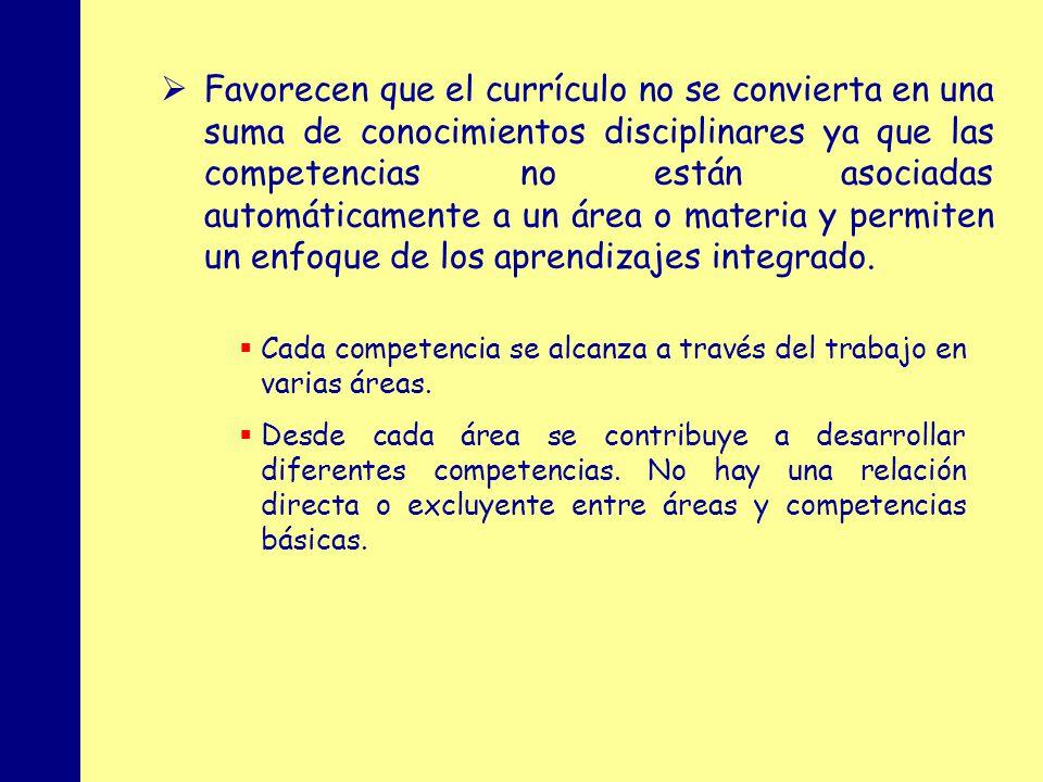 MINISTERIO DE EDUCACIÓN, POLÍTICA SOCIAL Y DEPORTE Favorecen que el currículo no se convierta en una suma de conocimientos disciplinares ya que las competencias no están asociadas automáticamente a un área o materia y permiten un enfoque de los aprendizajes integrado.