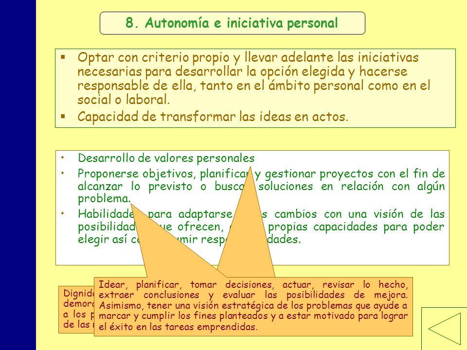 MINISTERIO DE EDUCACIÓN, POLÍTICA SOCIAL Y DEPORTE 8. Autonomía e iniciativa personal Optar con criterio propio y llevar adelante las iniciativas nece