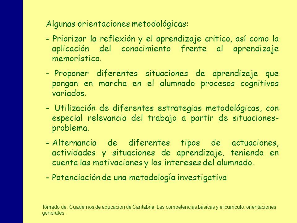 MINISTERIO DE EDUCACIÓN, POLÍTICA SOCIAL Y DEPORTE Algunas orientaciones metodológicas: - Priorizar la reflexión y el aprendizaje critico, así como la aplicación del conocimiento frente al aprendizaje memorístico.