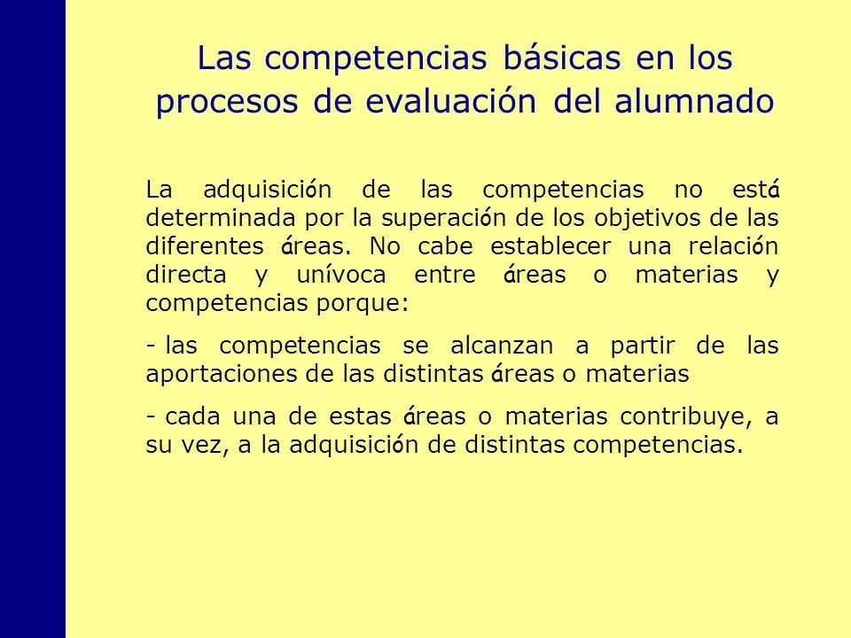MINISTERIO DE EDUCACIÓN, POLÍTICA SOCIAL Y DEPORTE Las competencias básicas en los procesos de evaluación del alumnado La adquisici ó n de las compete