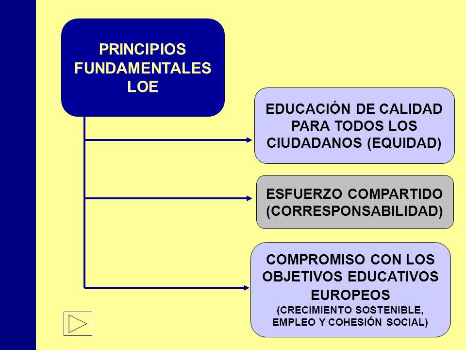 MINISTERIO DE EDUCACIÓN, POLÍTICA SOCIAL Y DEPORTE EDUCACIÓN DE CALIDAD PARA TODOS LOS CIUDADANOS (EQUIDAD) ESFUERZO COMPARTIDO (CORRESPONSABILIDAD) COMPROMISO CON LOS OBJETIVOS EDUCATIVOS EUROPEOS (CRECIMIENTO SOSTENIBLE, EMPLEO Y COHESIÓN SOCIAL) PRINCIPIOS FUNDAMENTALES LOE