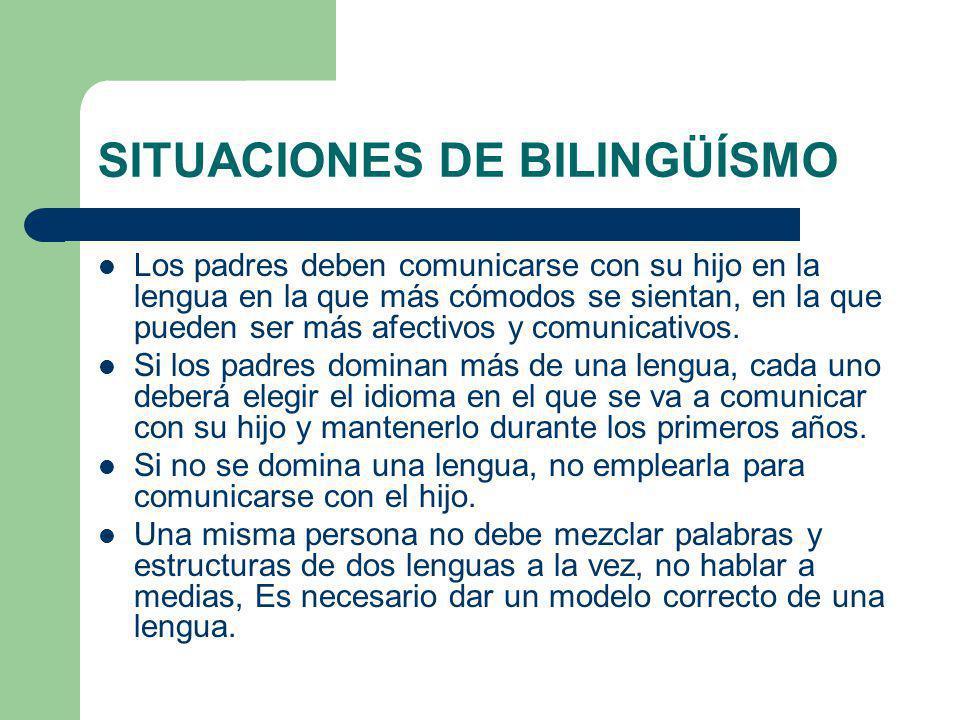 SITUACIONES DE BILINGÜÍSMO Los padres deben comunicarse con su hijo en la lengua en la que más cómodos se sientan, en la que pueden ser más afectivos