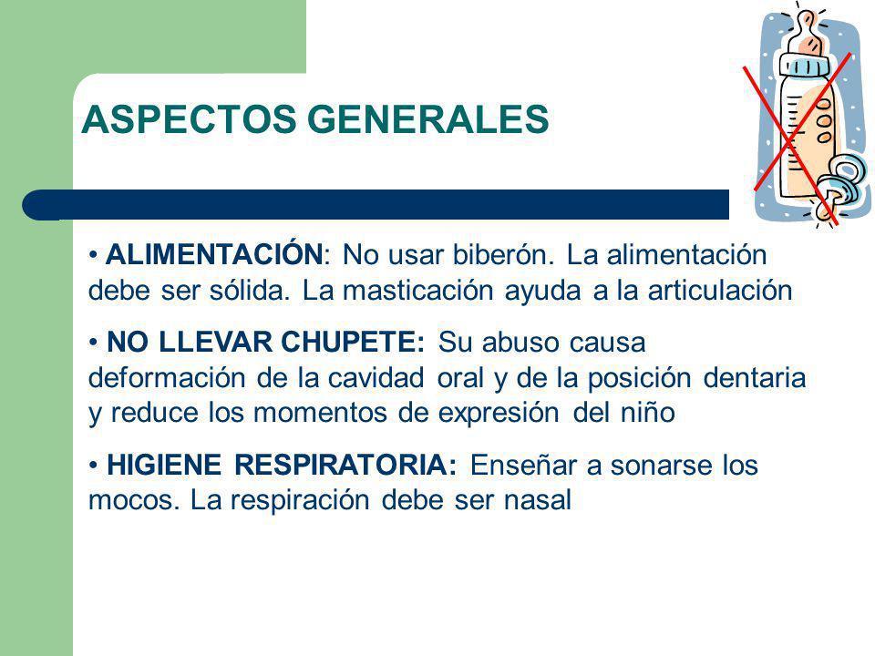 ALIMENTACIÓN: No usar biberón. La alimentación debe ser sólida. La masticación ayuda a la articulación NO LLEVAR CHUPETE: Su abuso causa deformación d