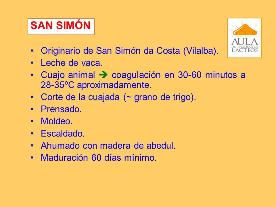 Originario de San Simón da Costa (Vilalba). Leche de vaca. Cuajo animal coagulación en 30-60 minutos a 28-35ºC aproximadamente. Corte de la cuajada (~