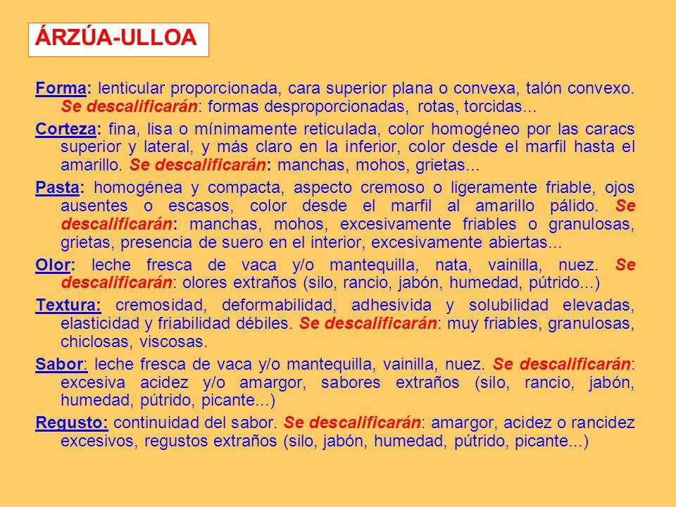 ÁRZÚA-ULLOA Forma: lenticular proporcionada, cara superior plana o convexa, talón convexo. Se descalificarán: formas desproporcionadas, rotas, torcida