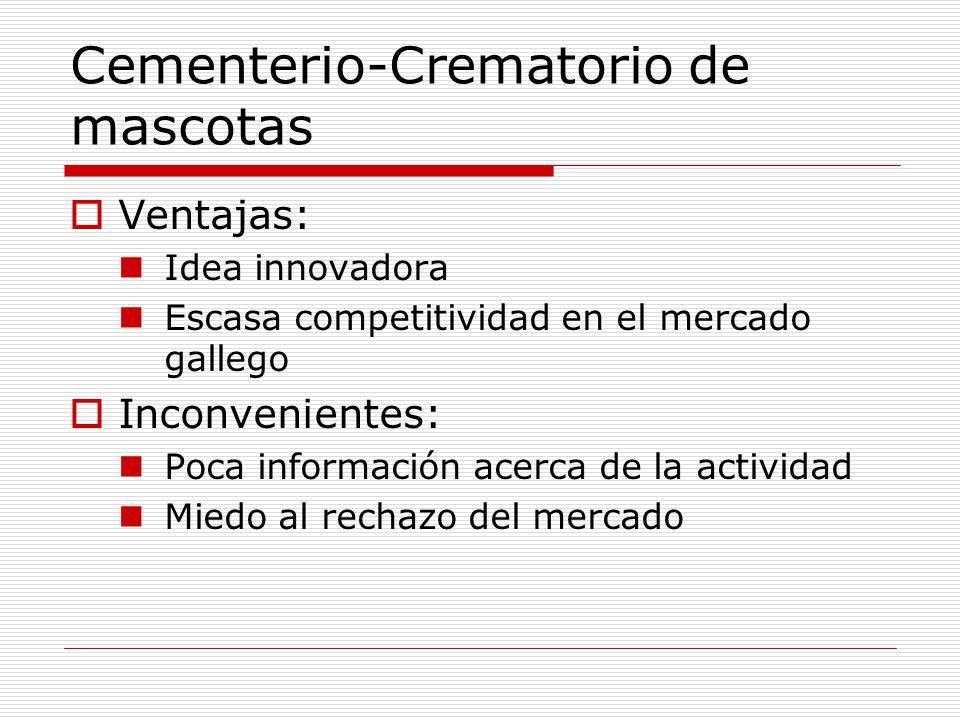 Cementerio-Crematorio de mascotas Ventajas: Idea innovadora Escasa competitividad en el mercado gallego Inconvenientes: Poca información acerca de la actividad Miedo al rechazo del mercado