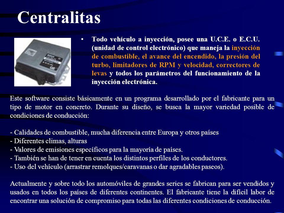 Todo vehículo a inyección, posee una U.C.E. o E.C.U. (unidad de control electrónico) que maneja la inyección de combustible, el avance del encendido,