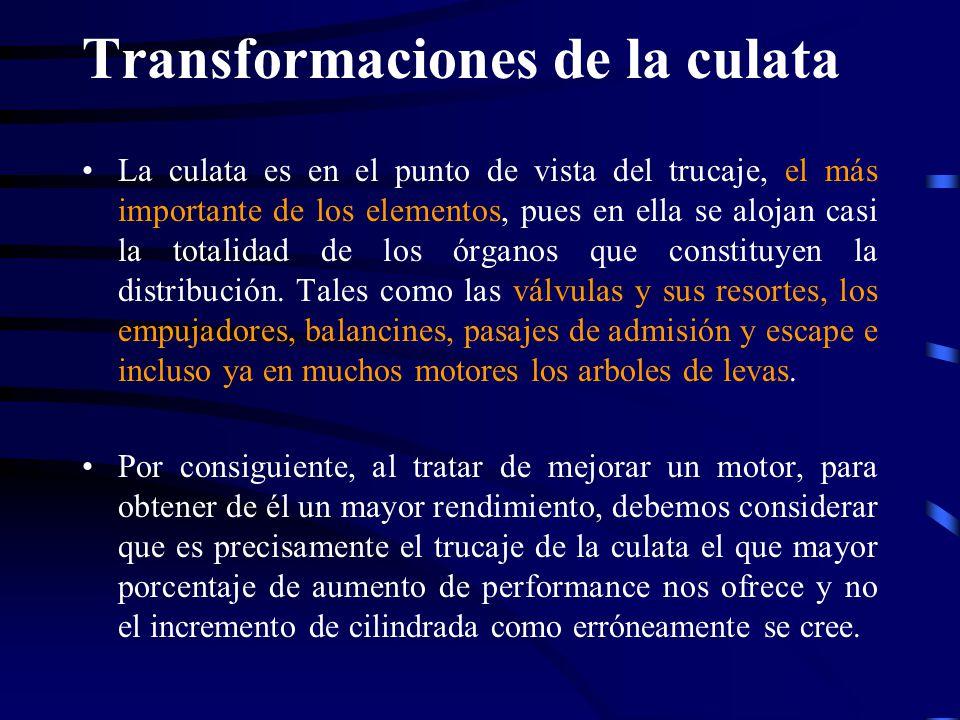 Transformaciones de la culata La culata es en el punto de vista del trucaje, el más importante de los elementos, pues en ella se alojan casi la totali