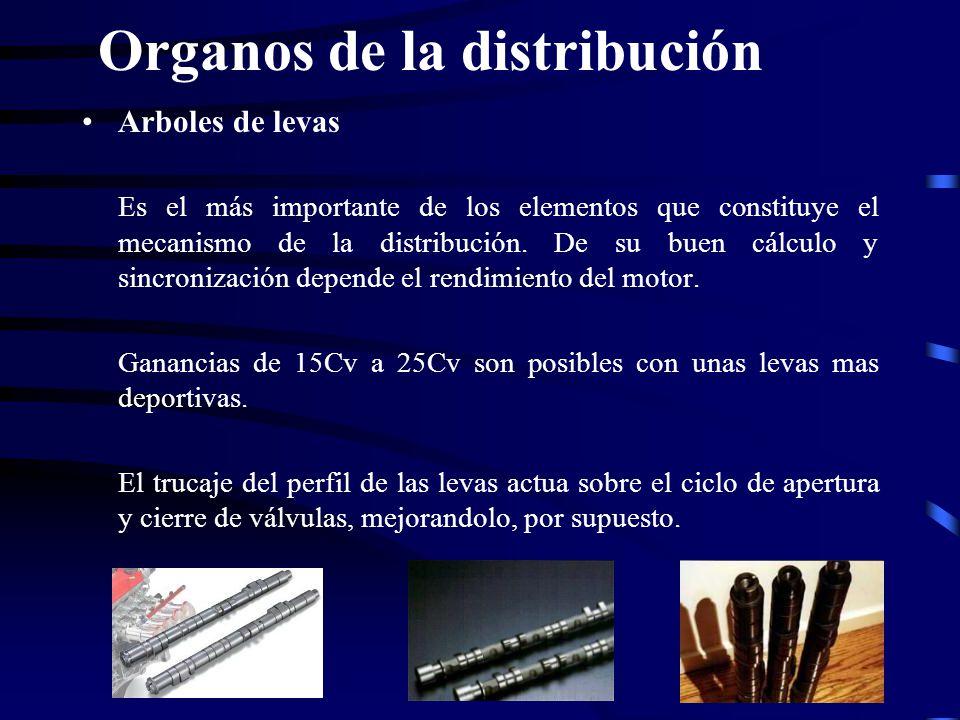 Organos de la distribución Arboles de levas Es el más importante de los elementos que constituye el mecanismo de la distribución. De su buen cálculo y