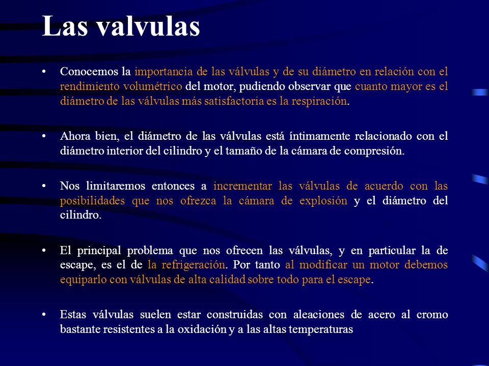 Las valvulas Conocemos la importancia de las válvulas y de su diámetro en relación con el rendimiento volumétrico del motor, pudiendo observar que cua