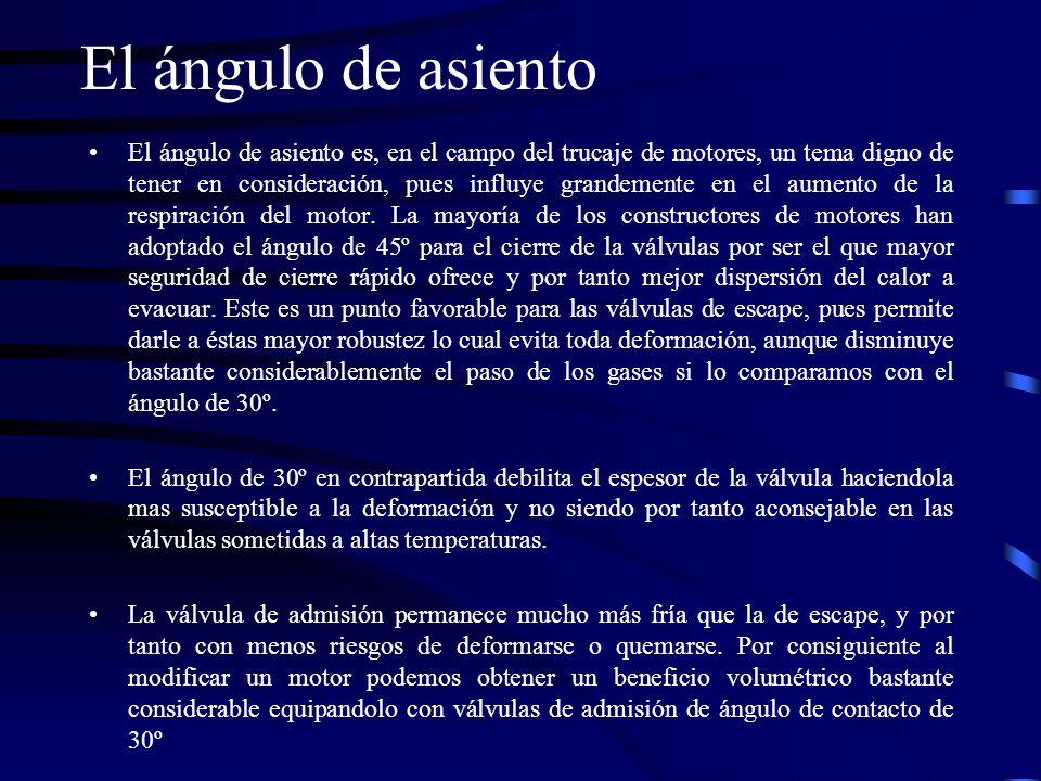 El ángulo de asiento El ángulo de asiento es, en el campo del trucaje de motores, un tema digno de tener en consideración, pues influye grandemente en