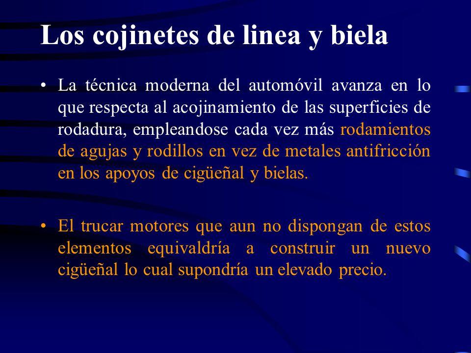 Los cojinetes de linea y biela La técnica moderna del automóvil avanza en lo que respecta al acojinamiento de las superficies de rodadura, empleandose