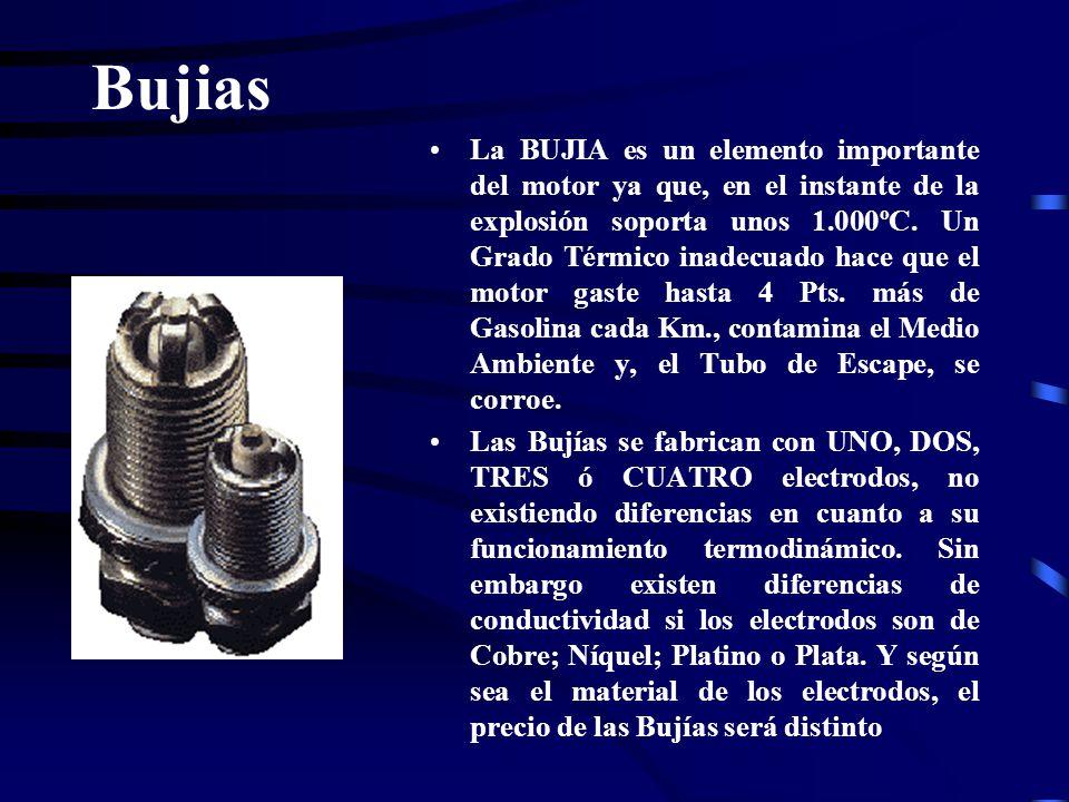 Bujias La BUJIA es un elemento importante del motor ya que, en el instante de la explosión soporta unos 1.000ºC. Un Grado Térmico inadecuado hace que