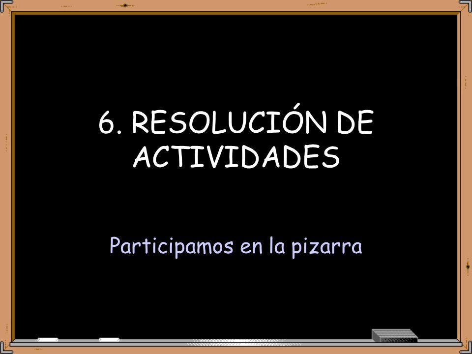 6. RESOLUCIÓN DE ACTIVIDADES Participamos en la pizarra