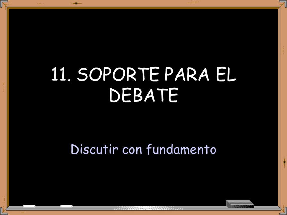 11. SOPORTE PARA EL DEBATE Discutir con fundamento
