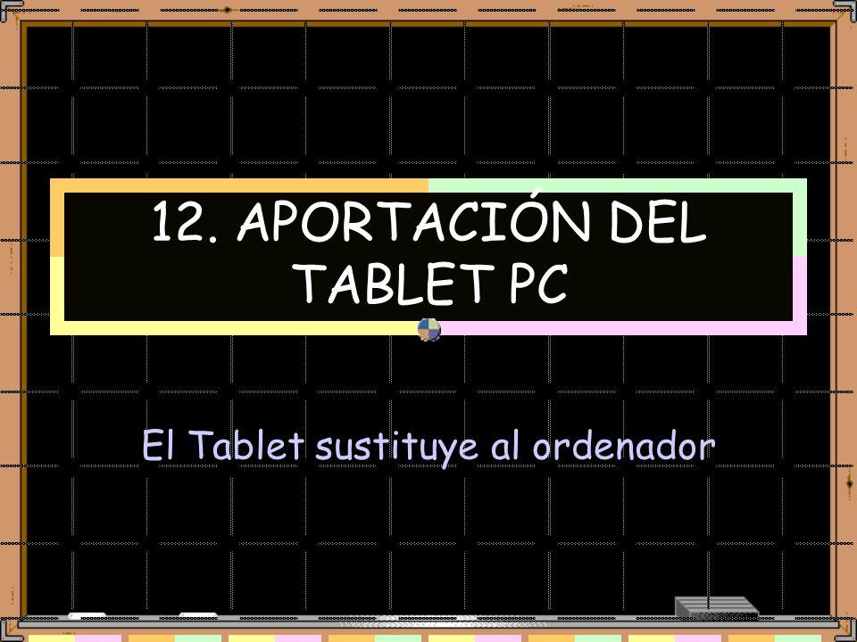 12. APORTACIÓN DEL TABLET PC El Tablet sustituye al ordenador