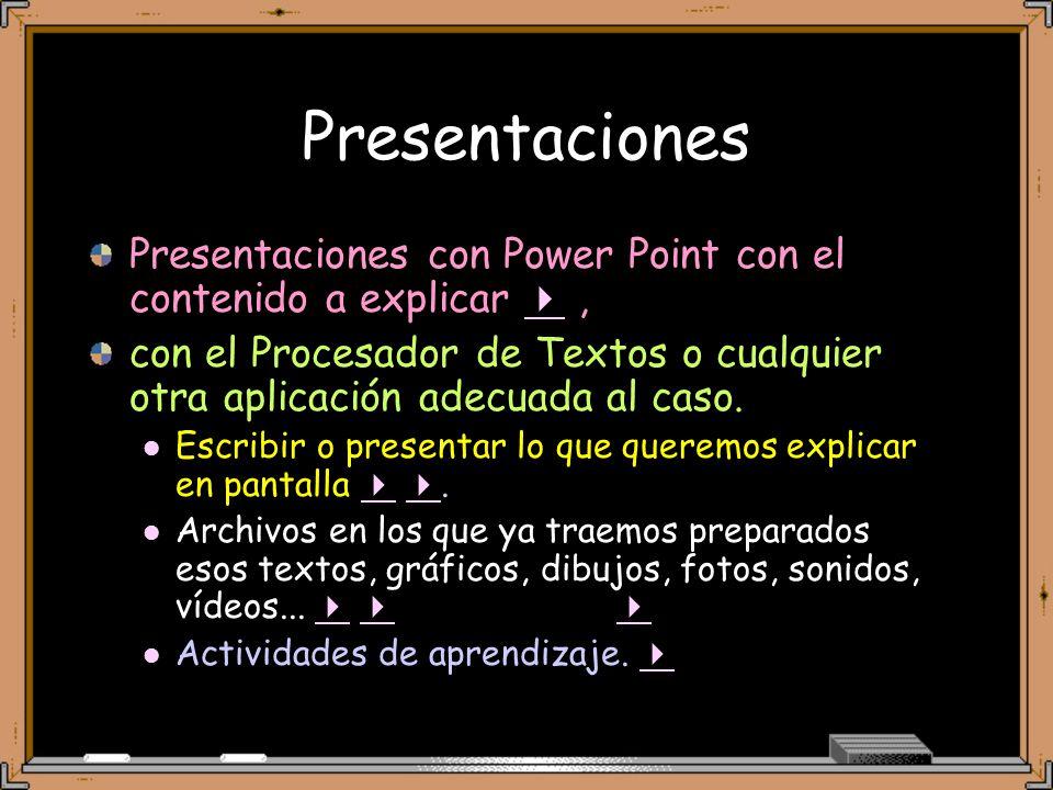 Presentaciones Presentaciones con Power Point con el contenido a explicar, con el Procesador de Textos o cualquier otra aplicación adecuada al caso.