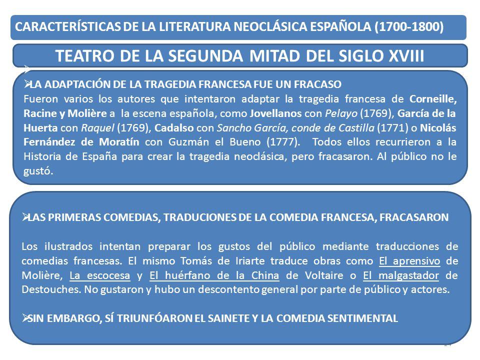 14 CARACTERÍSTICAS DE LA LITERATURA NEOCLÁSICA ESPAÑOLA (1700-1800) TEATRO DE LA SEGUNDA MITAD DEL SIGLO XVIII LA ADAPTACIÓN DE LA TRAGEDIA FRANCESA F
