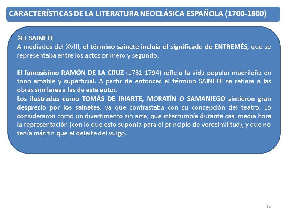 15 CARACTERÍSTICAS DE LA LITERATURA NEOCLÁSICA ESPAÑOLA (1700-1800) EL SAINETE A mediados del XVIII, el término sainete incluía el significado de ENTR