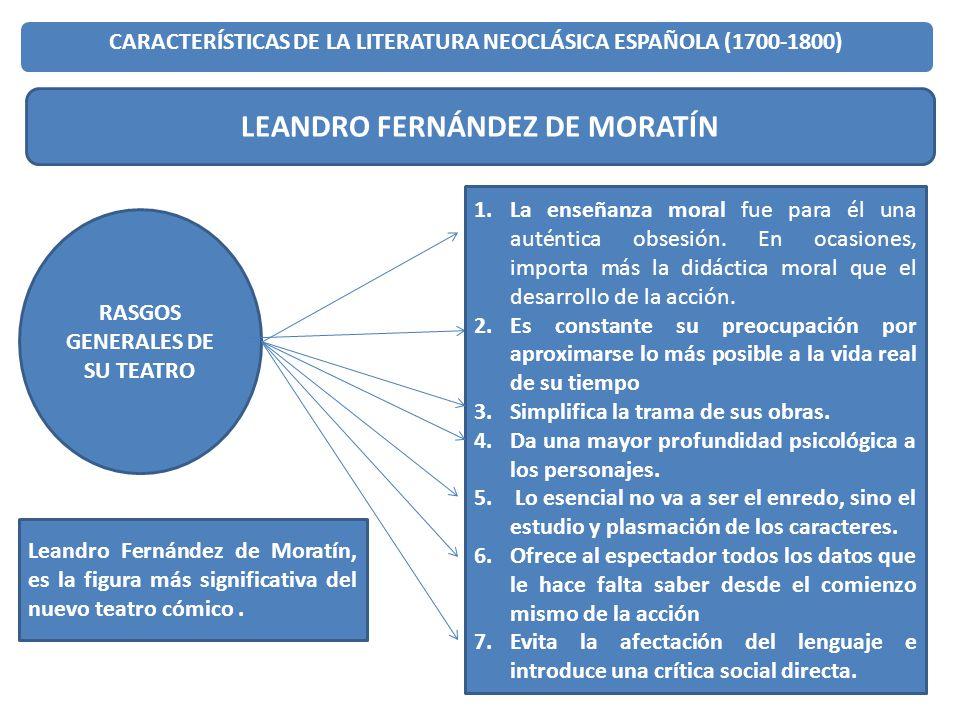 17 CARACTERÍSTICAS DE LA LITERATURA NEOCLÁSICA ESPAÑOLA (1700-1800) LEANDRO FERNÁNDEZ DE MORATÍN RASGOS GENERALES DE SU TEATRO 1.La enseñanza moral fu