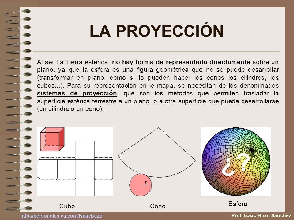 LA PROYECCIÓN Al ser La Tierra esférica, no hay forma de representarla directamente sobre un plano, ya que la esfera es una figura geométrica que no se puede desarrollar (transformar en plano, como si lo pueden hacer los conos los cilindros, los cubos...).