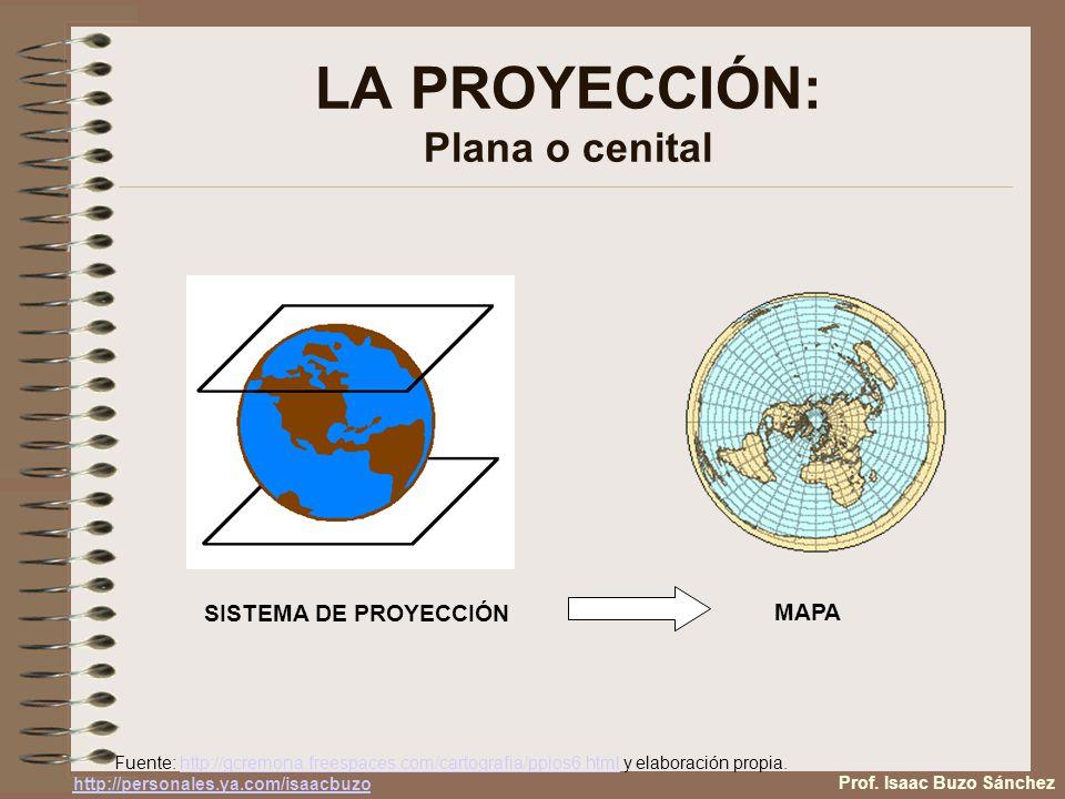 LA PROYECCIÓN: Plana o cenital SISTEMA DE PROYECCIÓN MAPA Fuente: http://gcremona.freespaces.com/cartografia/ppios6.html y elaboración propia.http://gcremona.freespaces.com/cartografia/ppios6.html Prof.